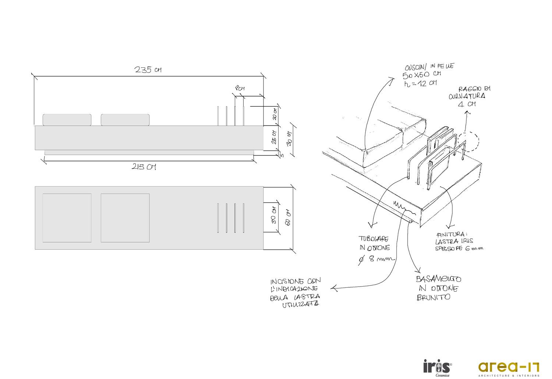 Schizzi preparatori per arredi in ceramica per allestimenti Area-17 Architecture & Interiors}