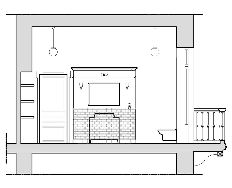 Bagno padronale; progetto: sezione trasversale Lucchini Architetti}