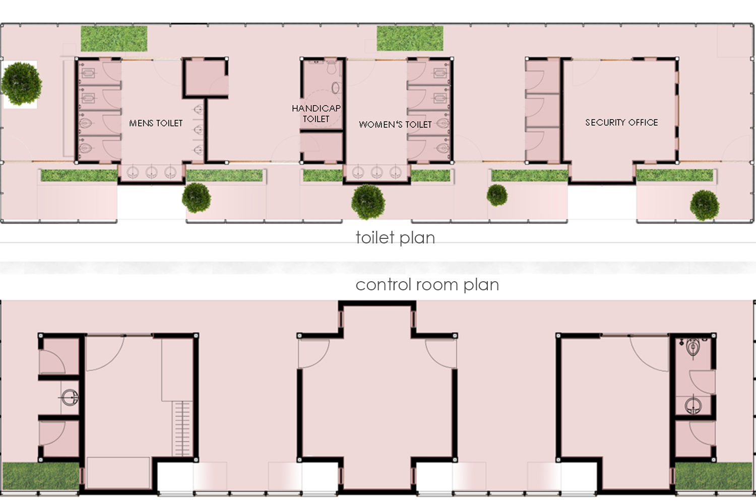 control room and toilet plan }