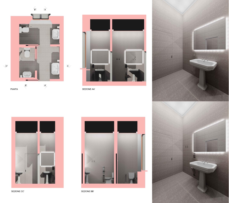 Museo Villa Bernasconi: rendering bagni piano seminterrato Luca Moretto}