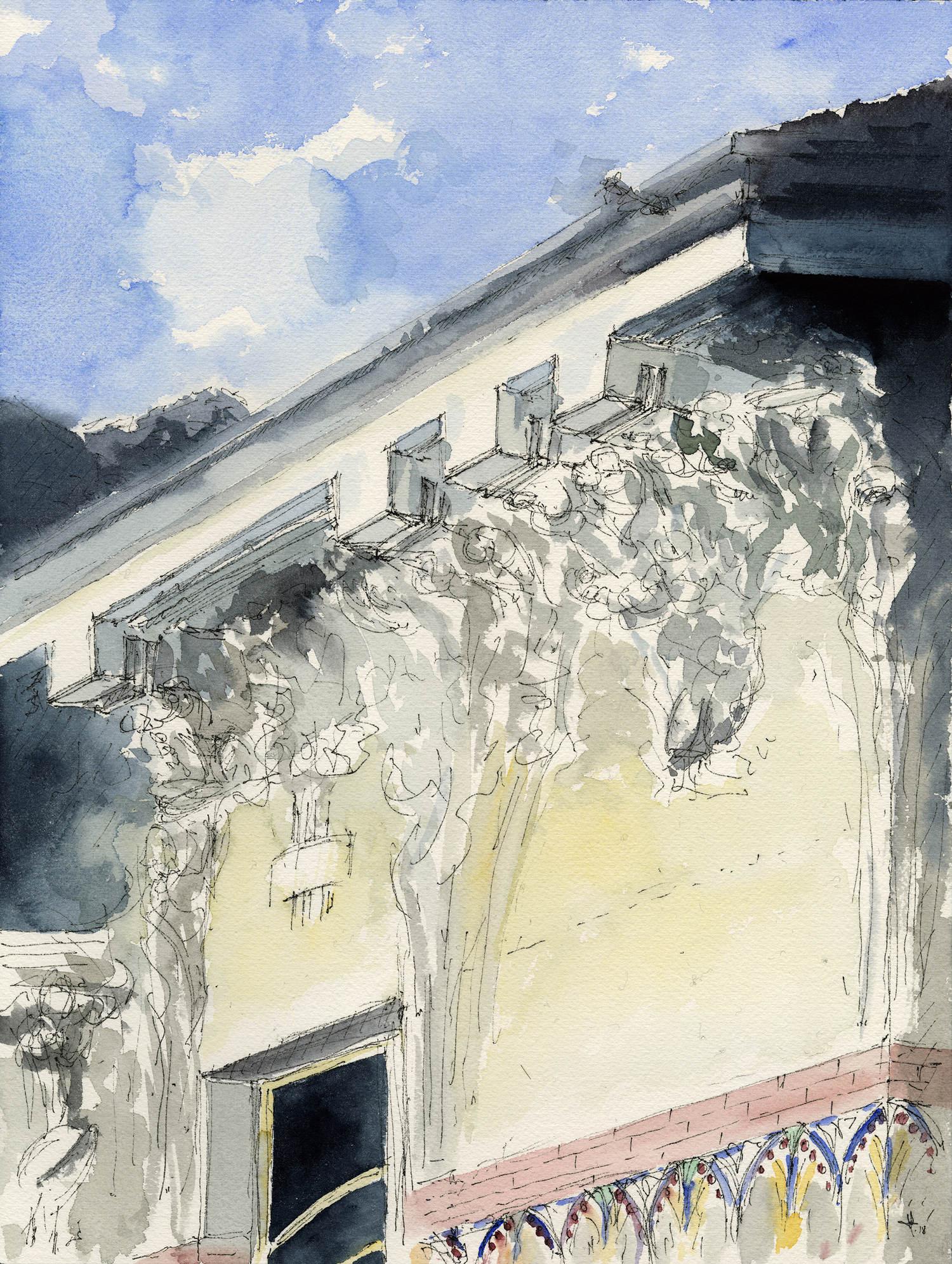 Villa Bernasconi: acquerello dettaglio facciata Luca Moretto}