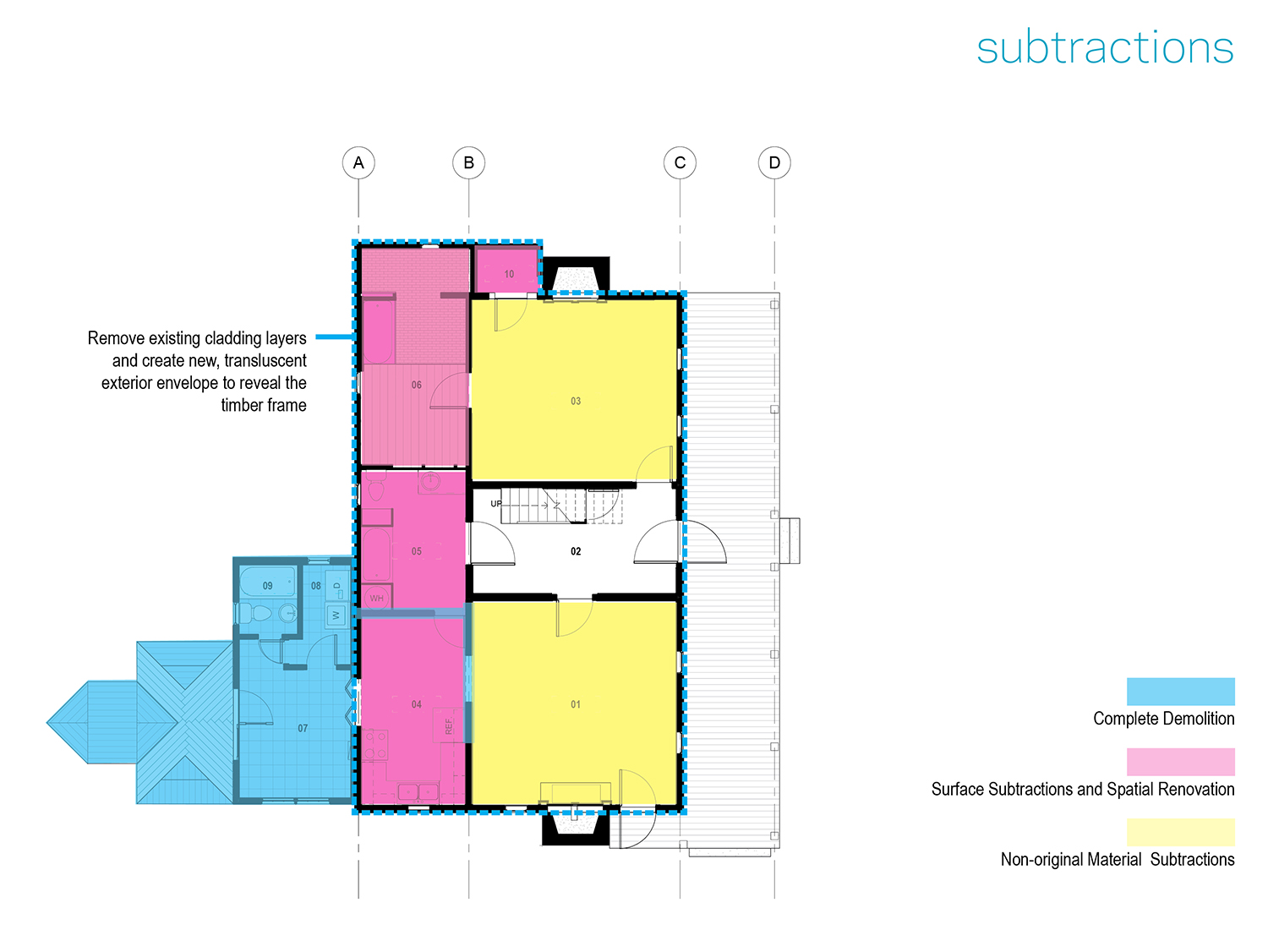 Demolition and subtraction plan for farmhouse renovation  mcdowellespinosa architects