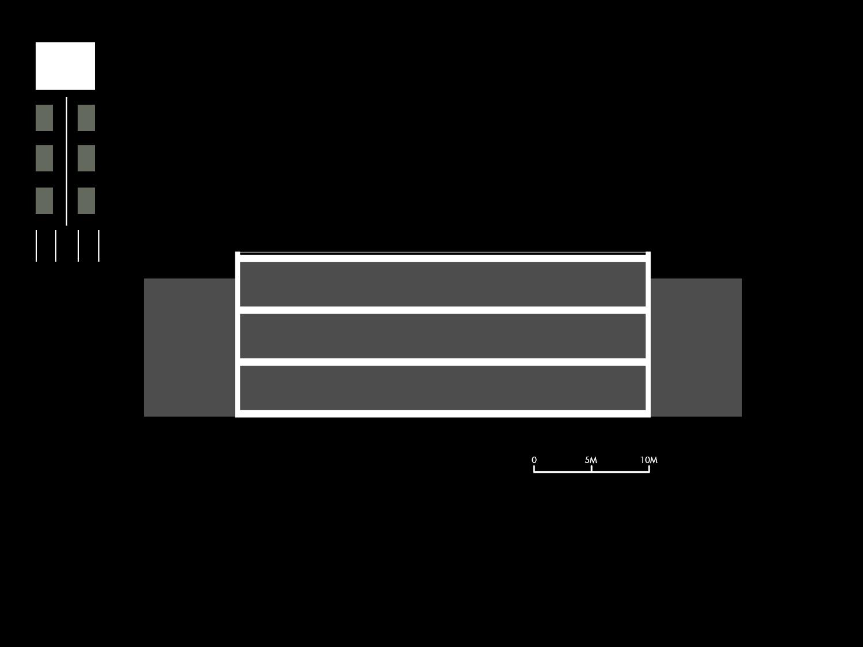 Sezione schematica di un padiglione tipo Mei e Pilia Ingegneri Associati}