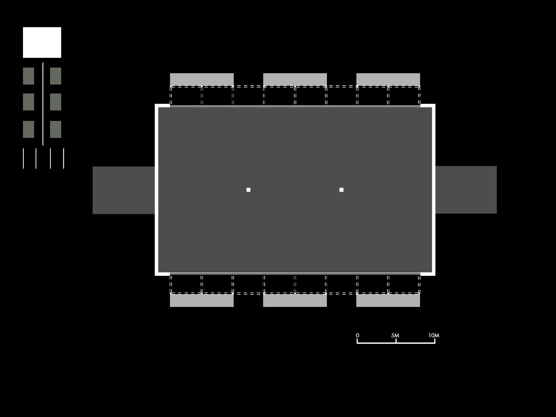Pianta schematica di un padiglione tipo Mei e Pilia Ingegneri Associati}