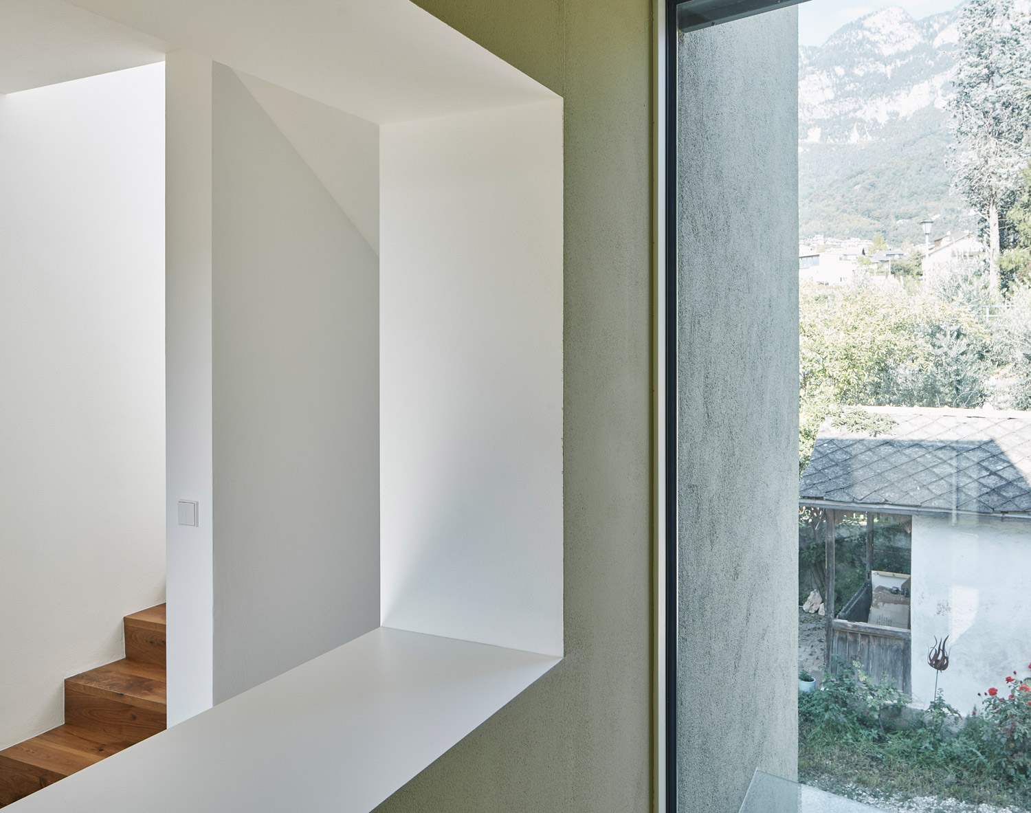 The pistachio tone of the facades continues into the inside David Schreyer