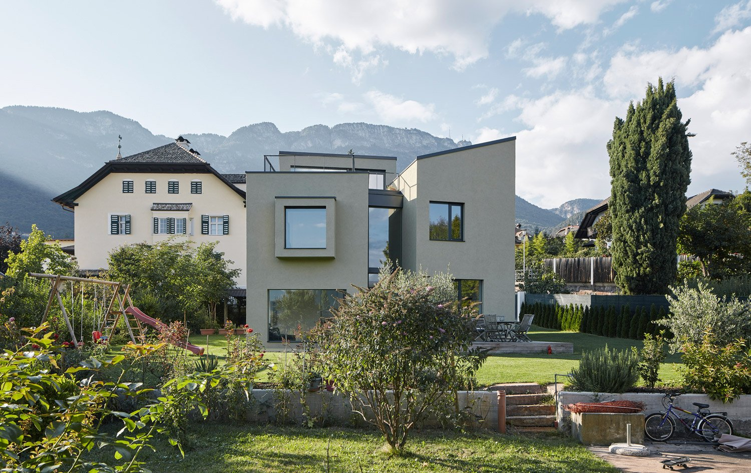 The pistachio tone of the facades is inspired by their natural surroundings David Schreyer
