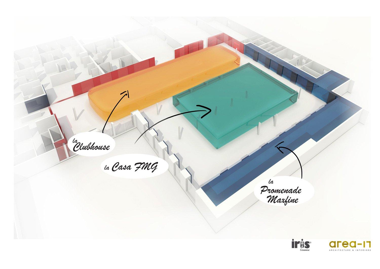 Schema nuove funzioni principali dell'intervento Area-17 Architecture & Interiors}