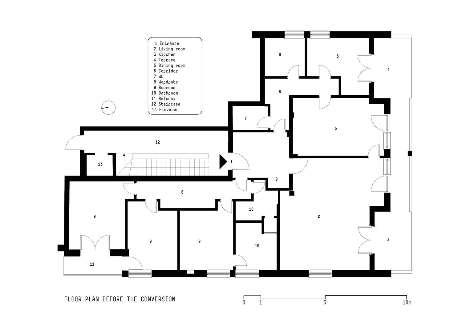 Floor plan before the conversion }