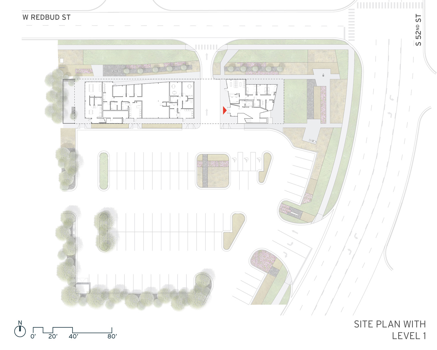 Site Plan with Level One }