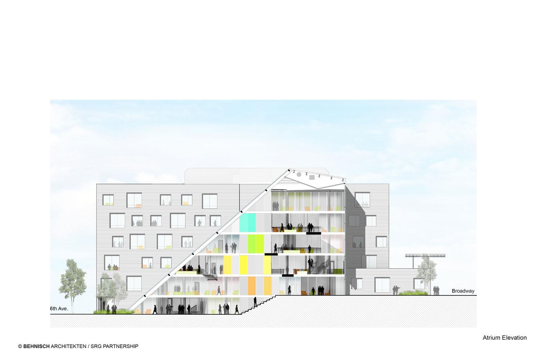 Karl Miller Center atrium elevation Behnisch Architekten}