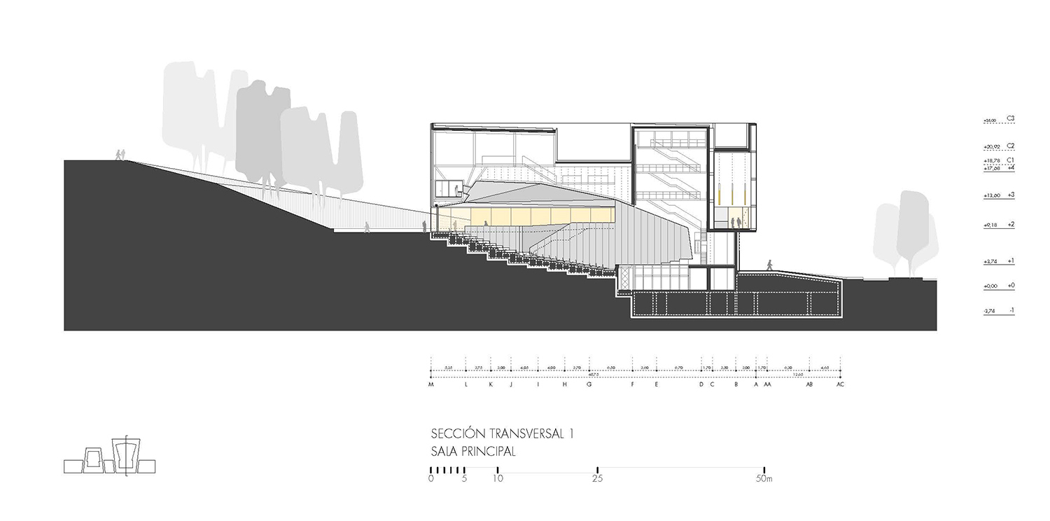 Cross section 1, main hall Paredes Pedrosa Arquitectos}