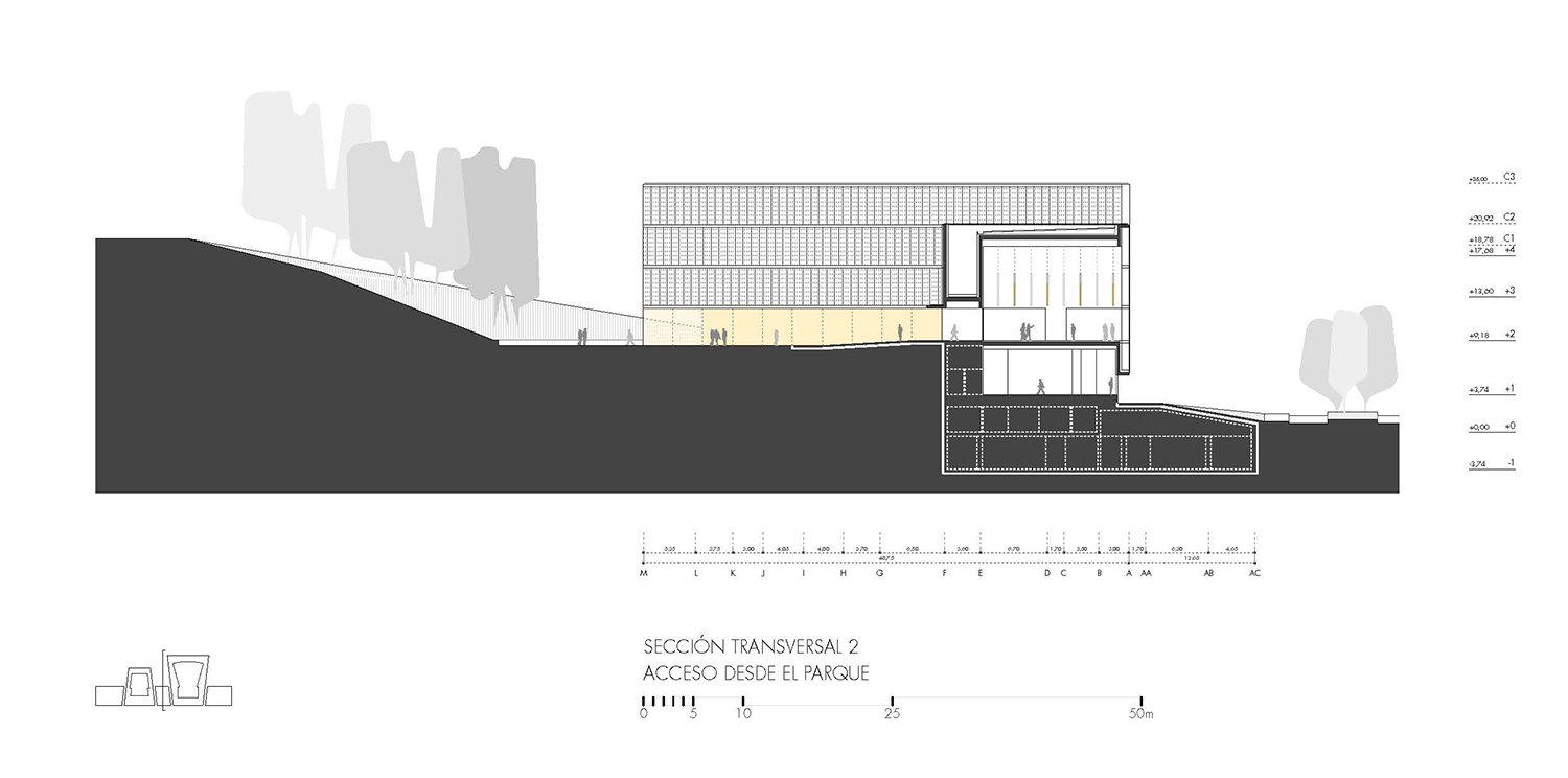Cross section 2, main entrance to the lobby and gallery Paredes Pedrosa Arquitectos}