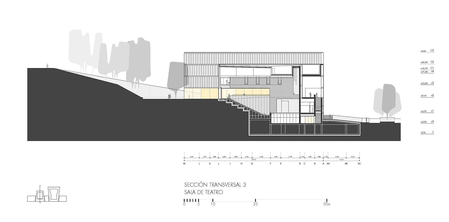 Cross section 3, 300 seat hall Paredes Pedrosa Arquitectos}