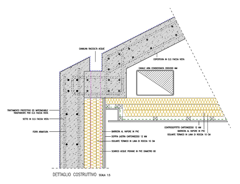 dettaglio costruttivo nodo superiore per aree con controsoffitto (sanitari) Arch. Salvatore Terranova - Ing. Arch. Giorgia Testa}