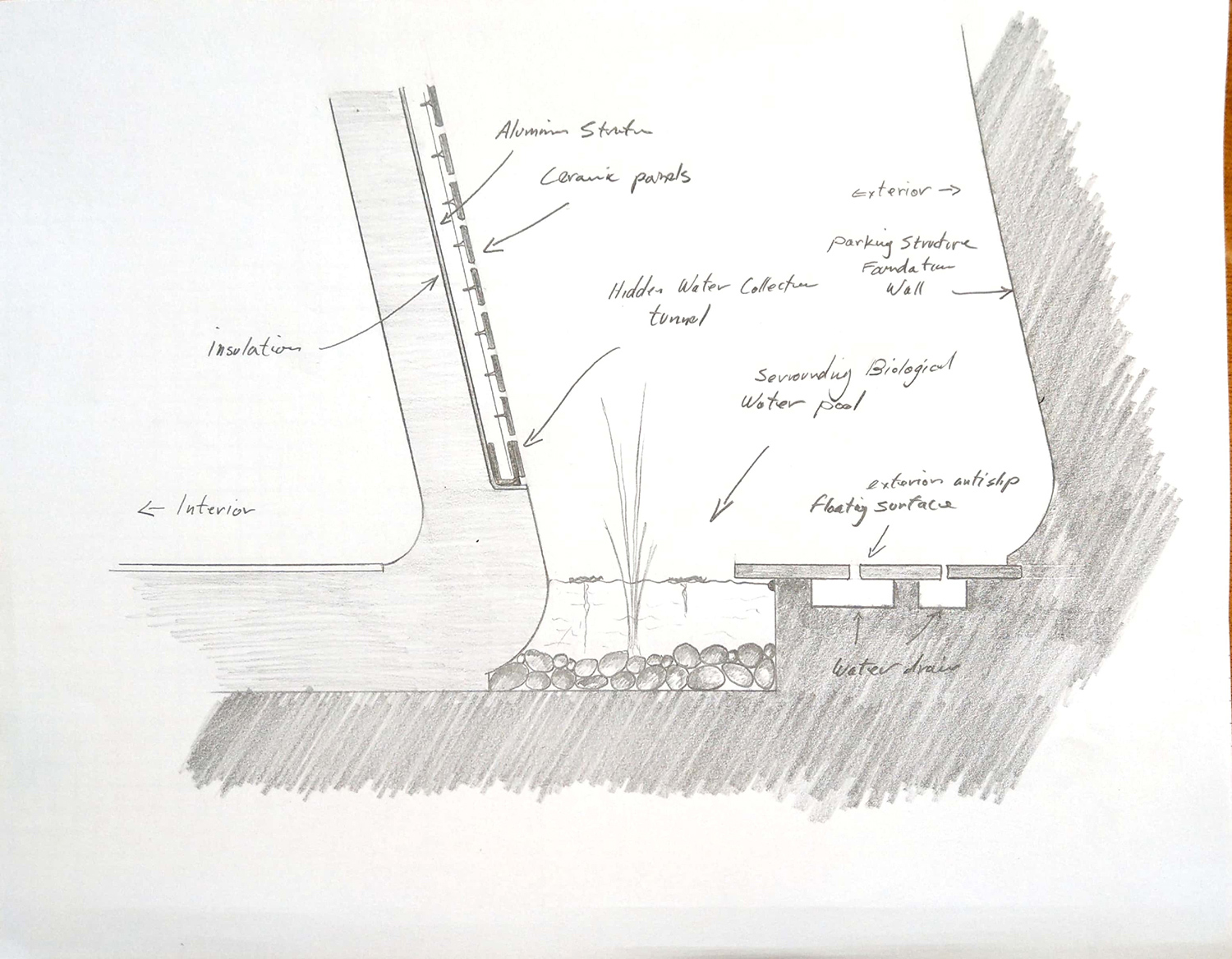 pool house section Ariel Isaac Franco Arch Studio}