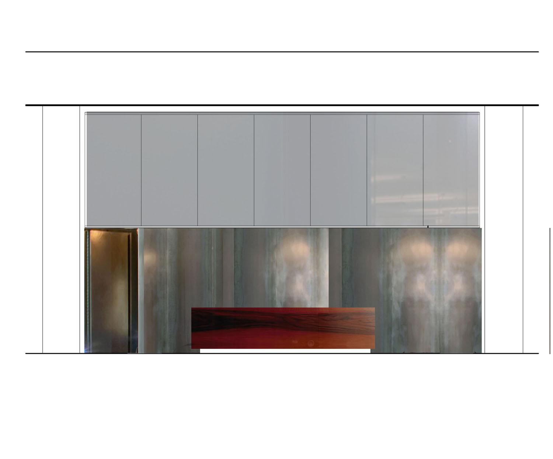 Fotomontaggio parete desk ricevimento Berarducci Architecture}