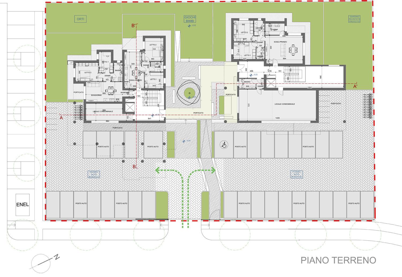 Planimetria piano terreno © 2018 by GBA Studio srl / Gianluca Brini - Architetto}