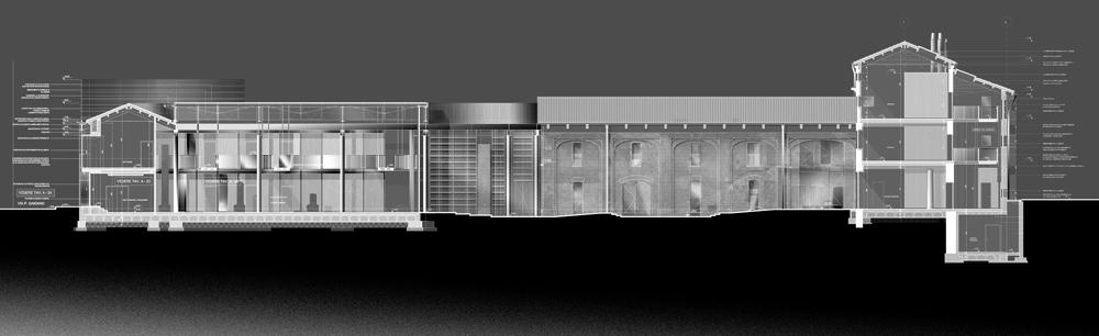 Sezione longitudinale sulla galleria fotovoltaica, la corte interna e la villa }