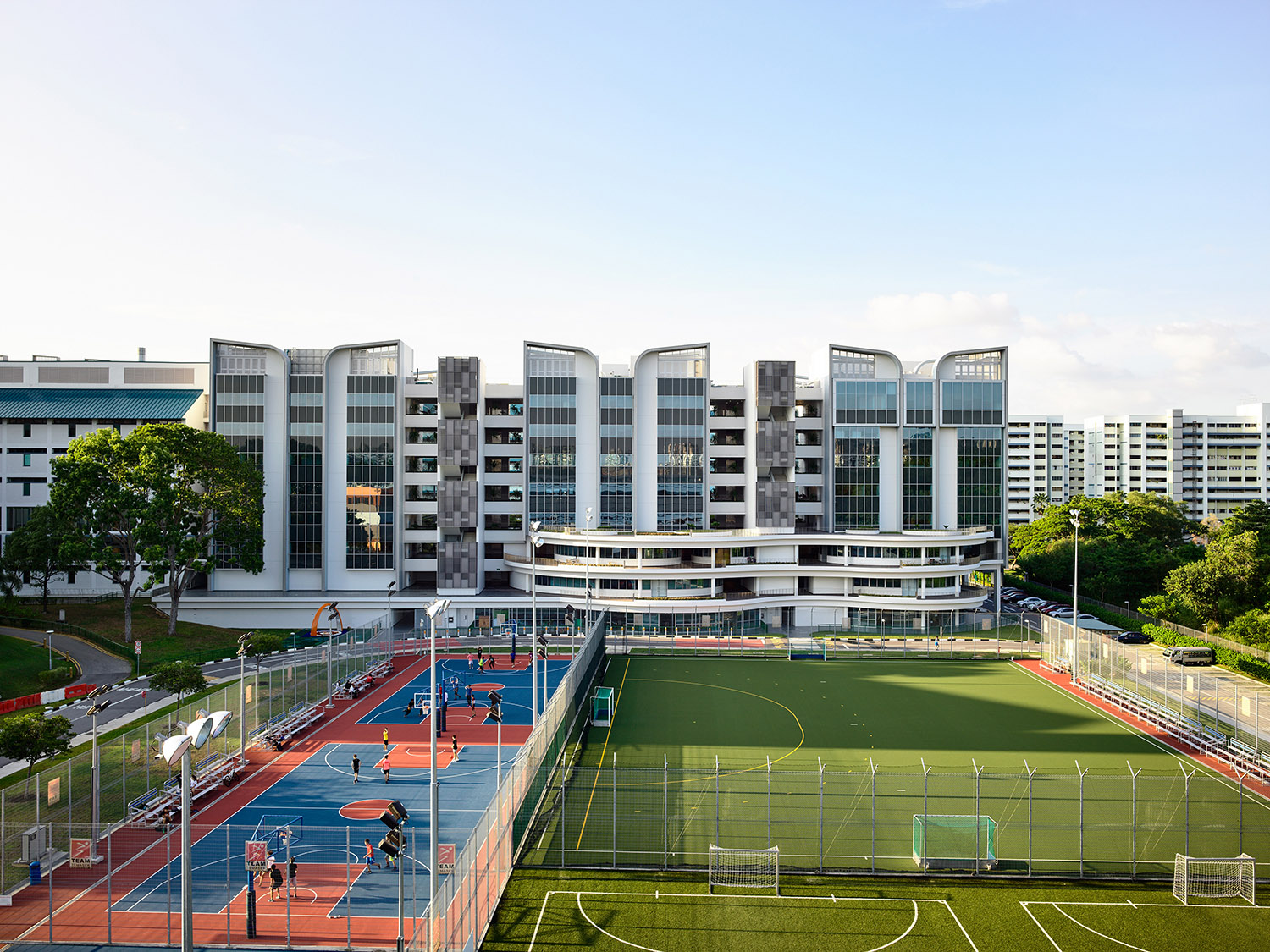 Elevation of East Wing facing sports courts