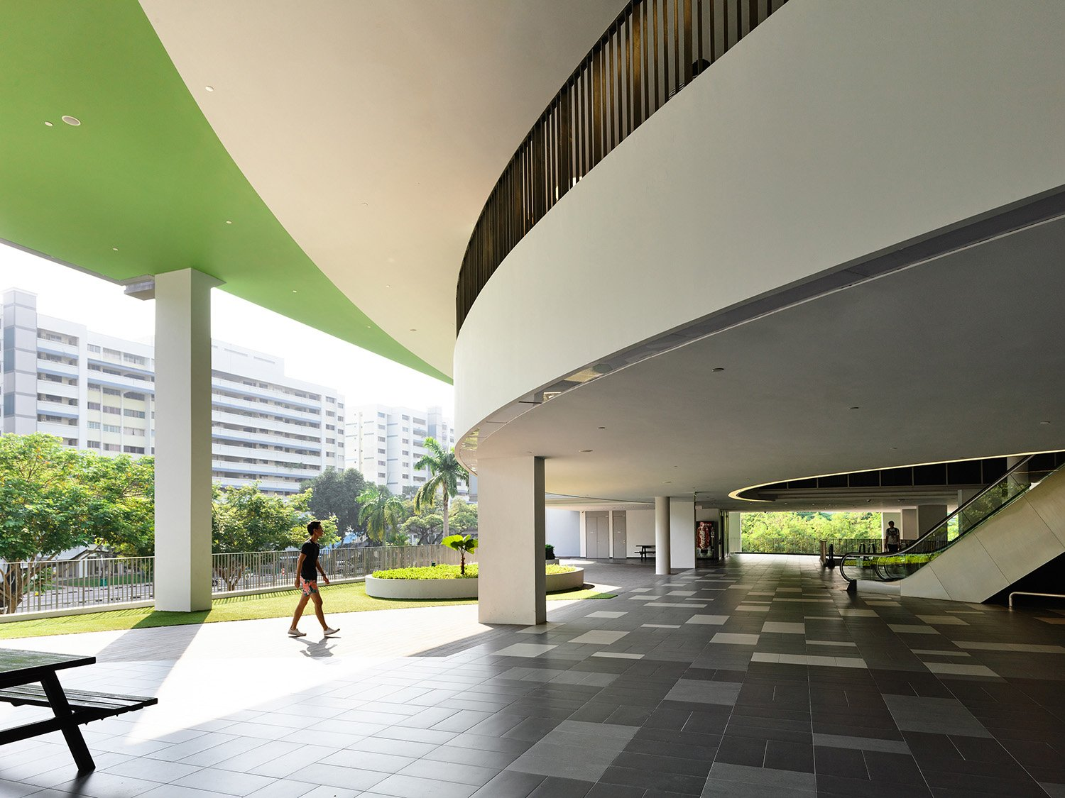 Greenery has been introduced into the large atrium space for relief