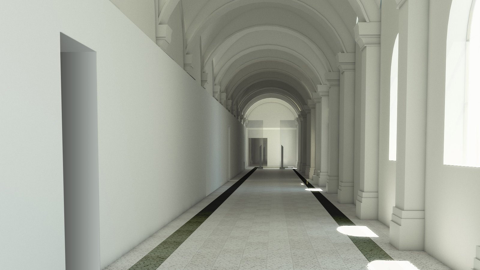 Render di Progetto, il corridoio }