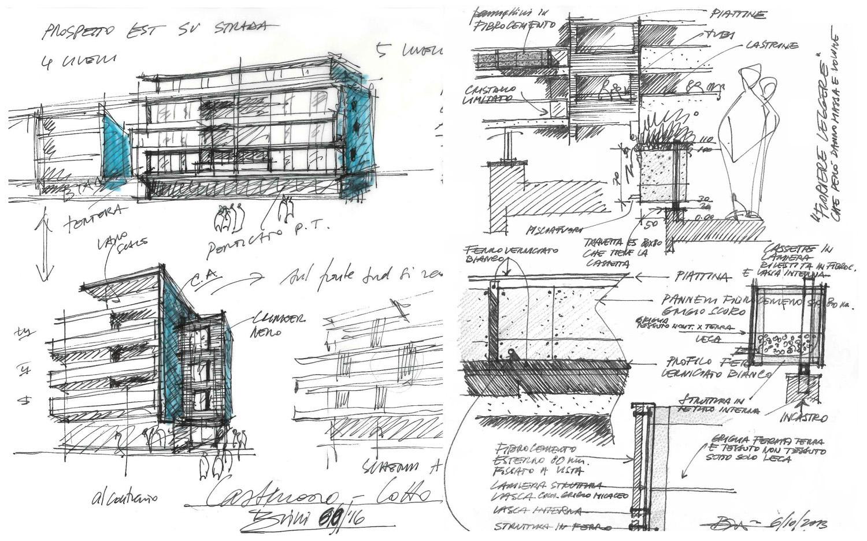 Schizzi preliminari di Progetto © 2018 by GBA Studio srl / Gianluca Brini - Architetto}