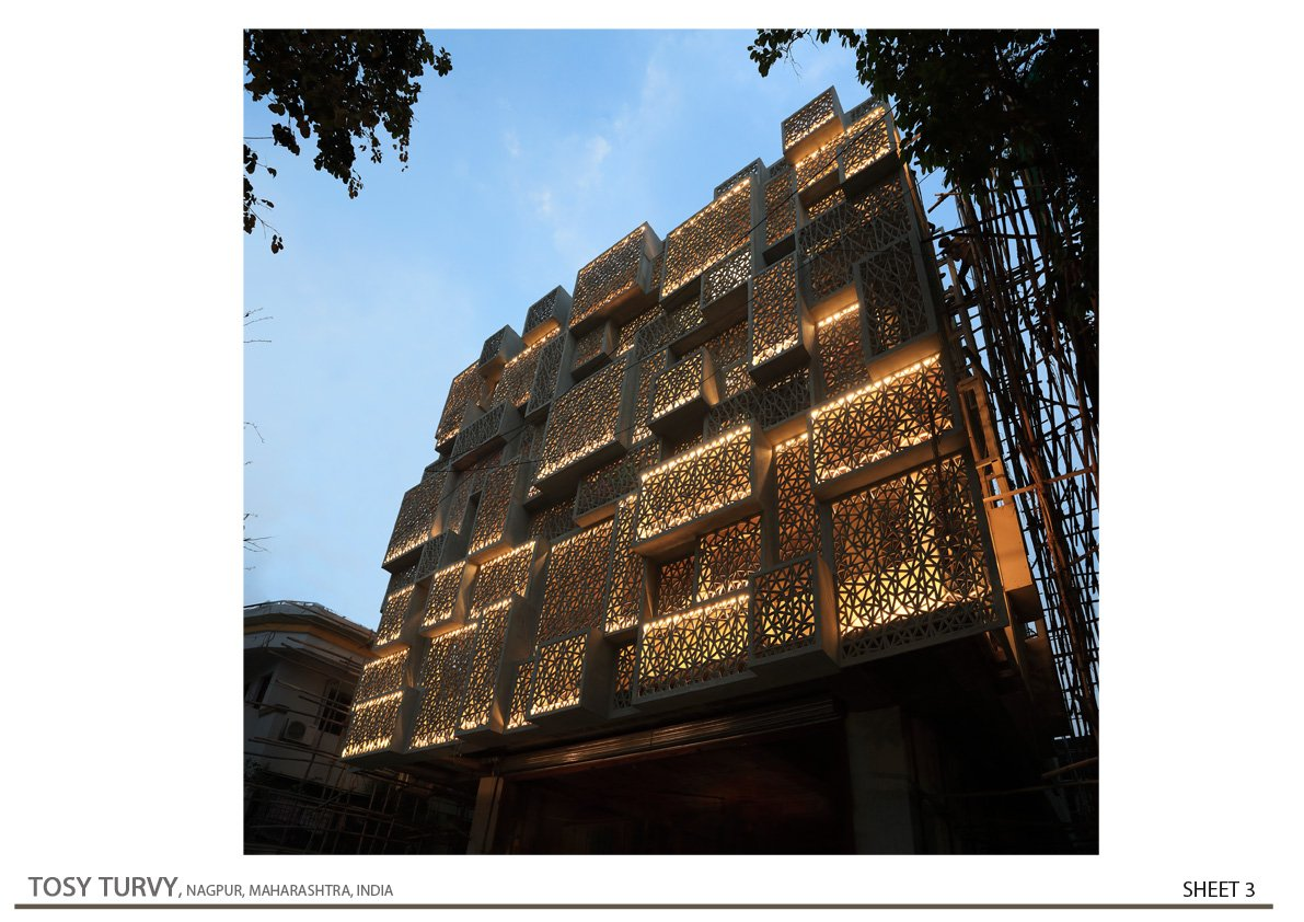 South-West Night View  Zeel Architects/ Ashish Bhonde
