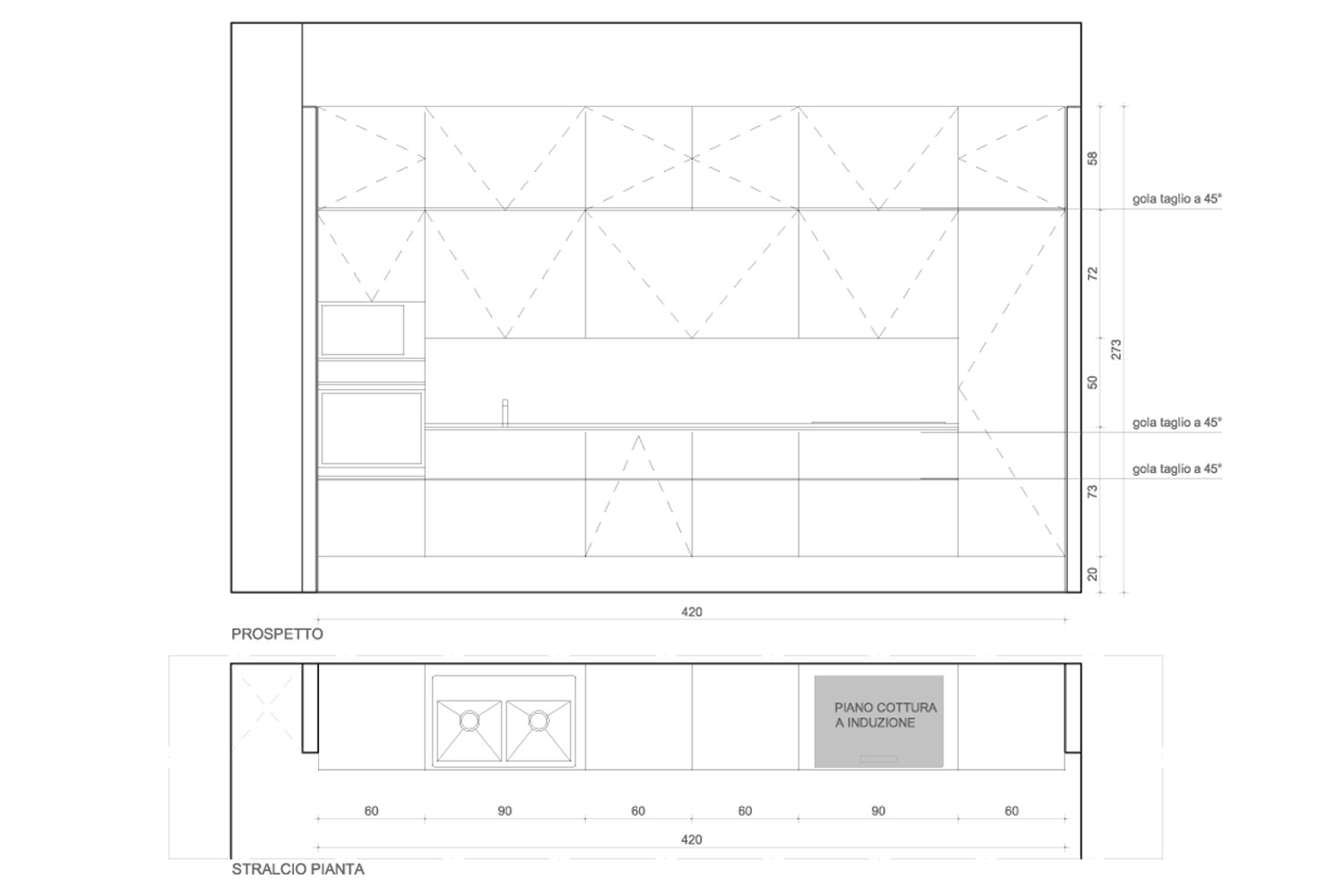 Technical drawing of the kitchen furniture - plan and elevation Luca Peralta