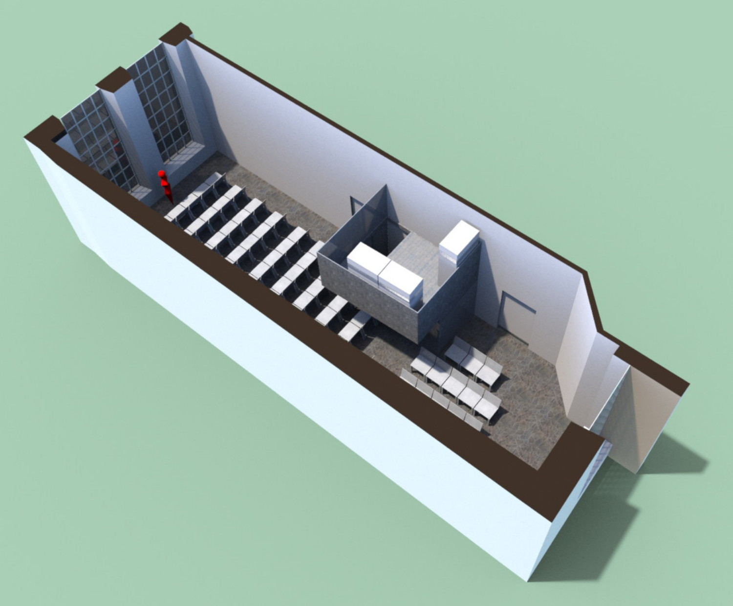 bird eye view of room with kitchen object MDB