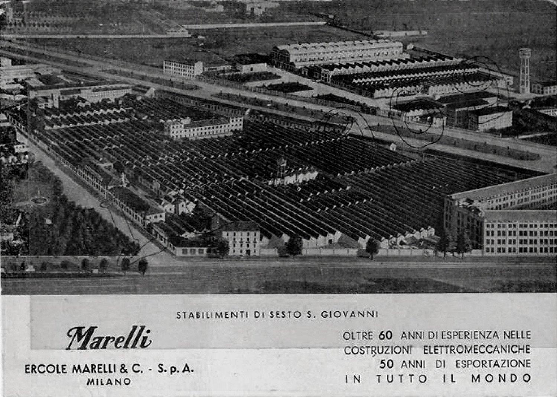 Veduta storica dello stabilimento Ercole Marelli diverserighestudio