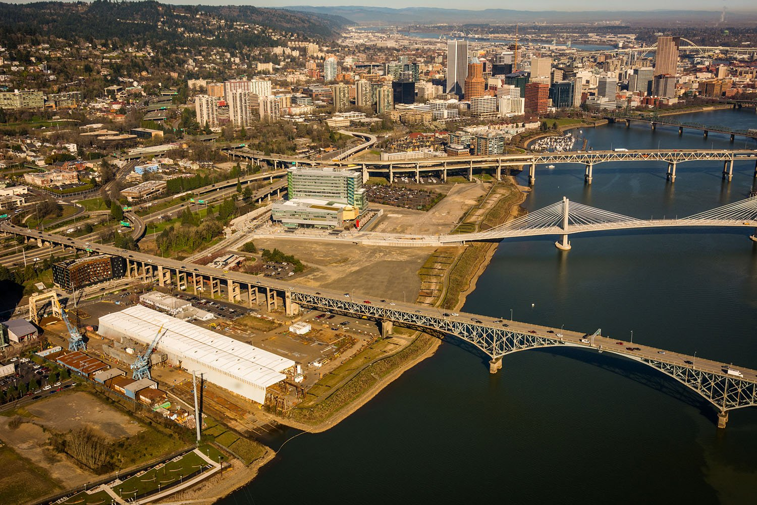View of existing brownfield  site with downtown Portland nearby