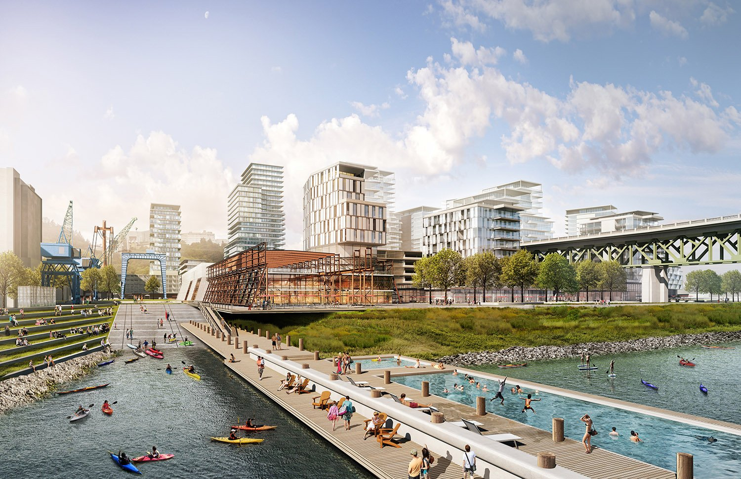 The once private riverfront edge becomes a new public space for events, canoe launches, dinning and entertainment - all accessible by pedestrians, cyclists and boats. }