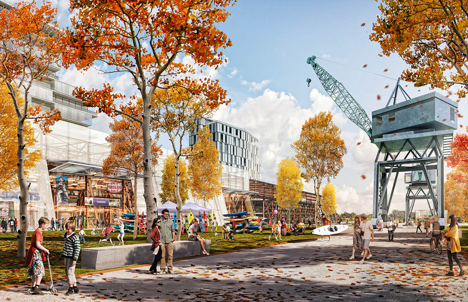 The cultural park integrates cranes and infrastructure of the previous industrial uses as part of the new public realm.
