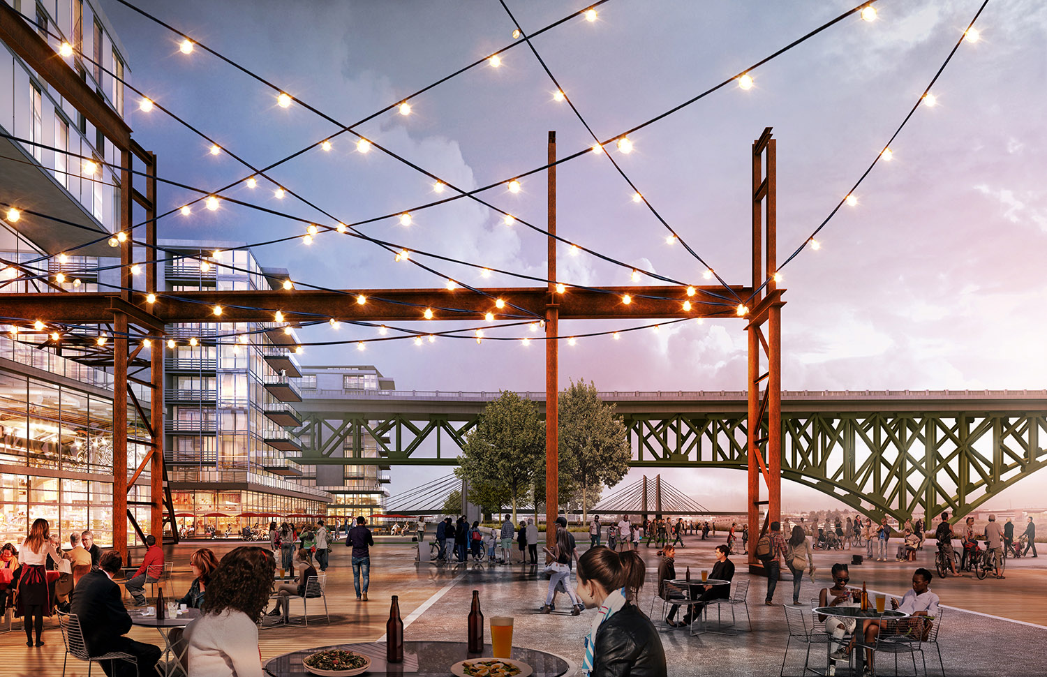 The once privitized industrial edge is now a destination place along the newly created greenway along the riverfront edge. The industrial heritage is drawn into the setting as the place evolves into a new