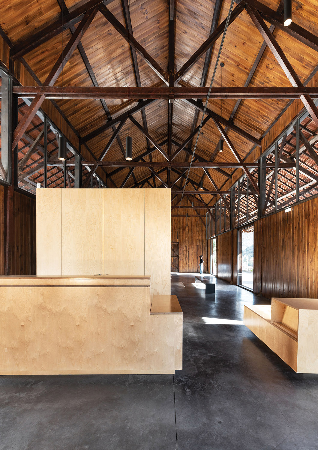 reception, store shelf and wooden container with toilets and storage Luís Ferreira Alves