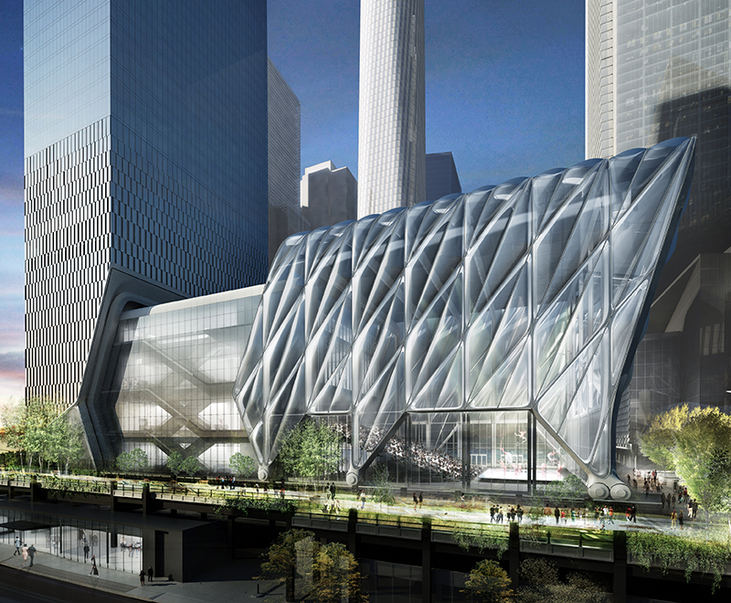 Rendering of The Shed Exterior, Shell Deployed Diller Scofidio + Renfro