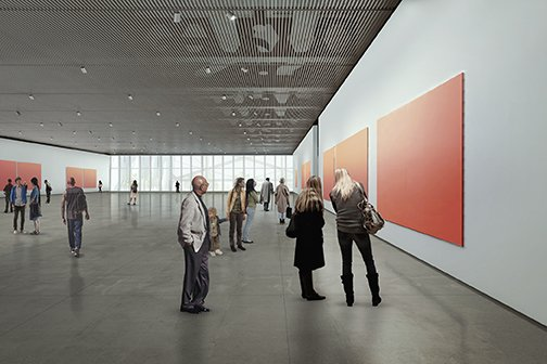 Rendering of the Gallery on Level 4 Diller Scofidio + Renfro