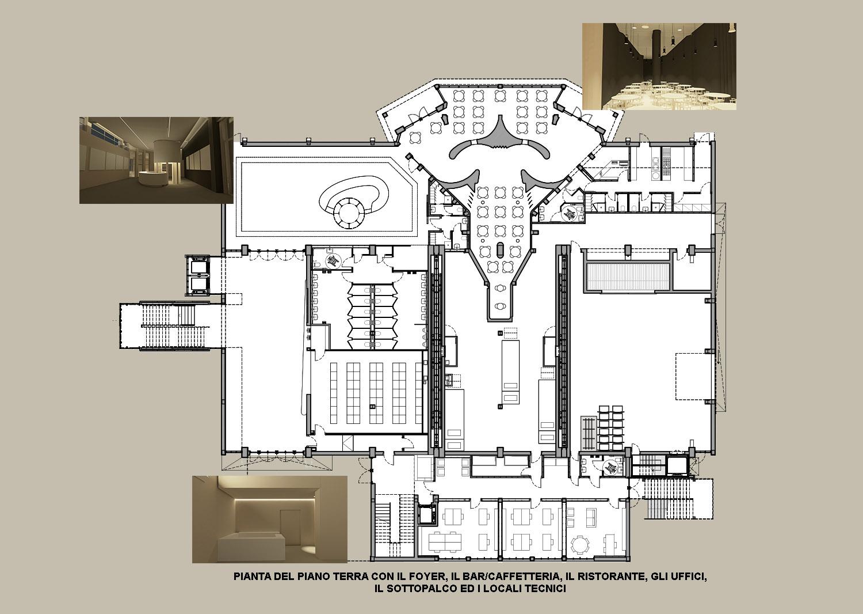 Il foyer, il Bar-caffetteria, il ristorante, il sottopalco e gli uffici ©AtelierTraldi}