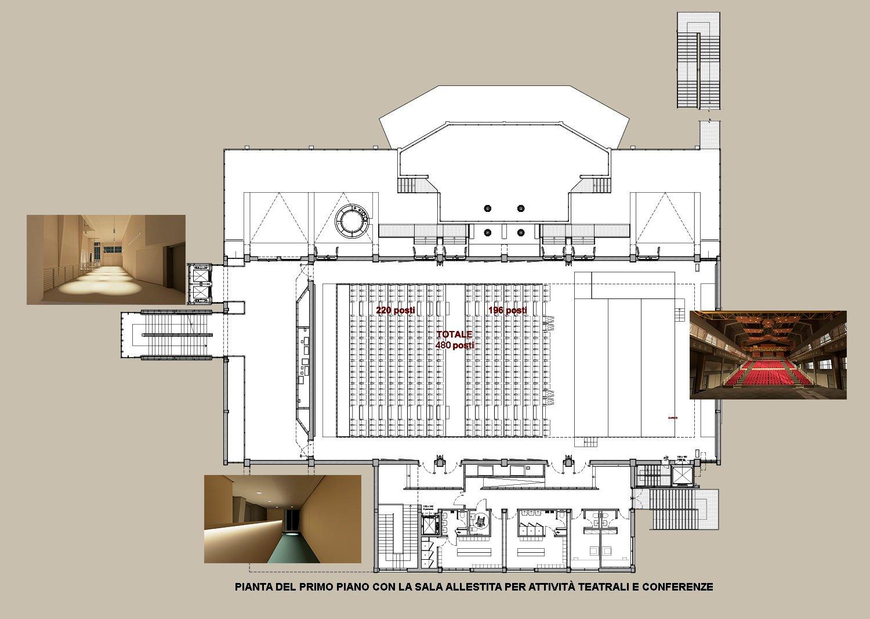 La sala, il foyer, il terrazzo esterno e i camerini ©AtelierTraldi}