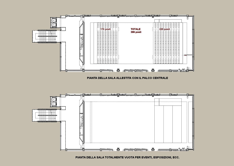 La sala e le sue diverse configurazioni ©AtelierTraldi}