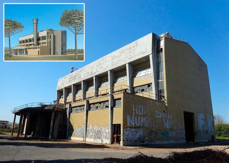 Il restauro del moderno, stato attuale e progetto (veduta da nord-est) ©AtelierTraldi}
