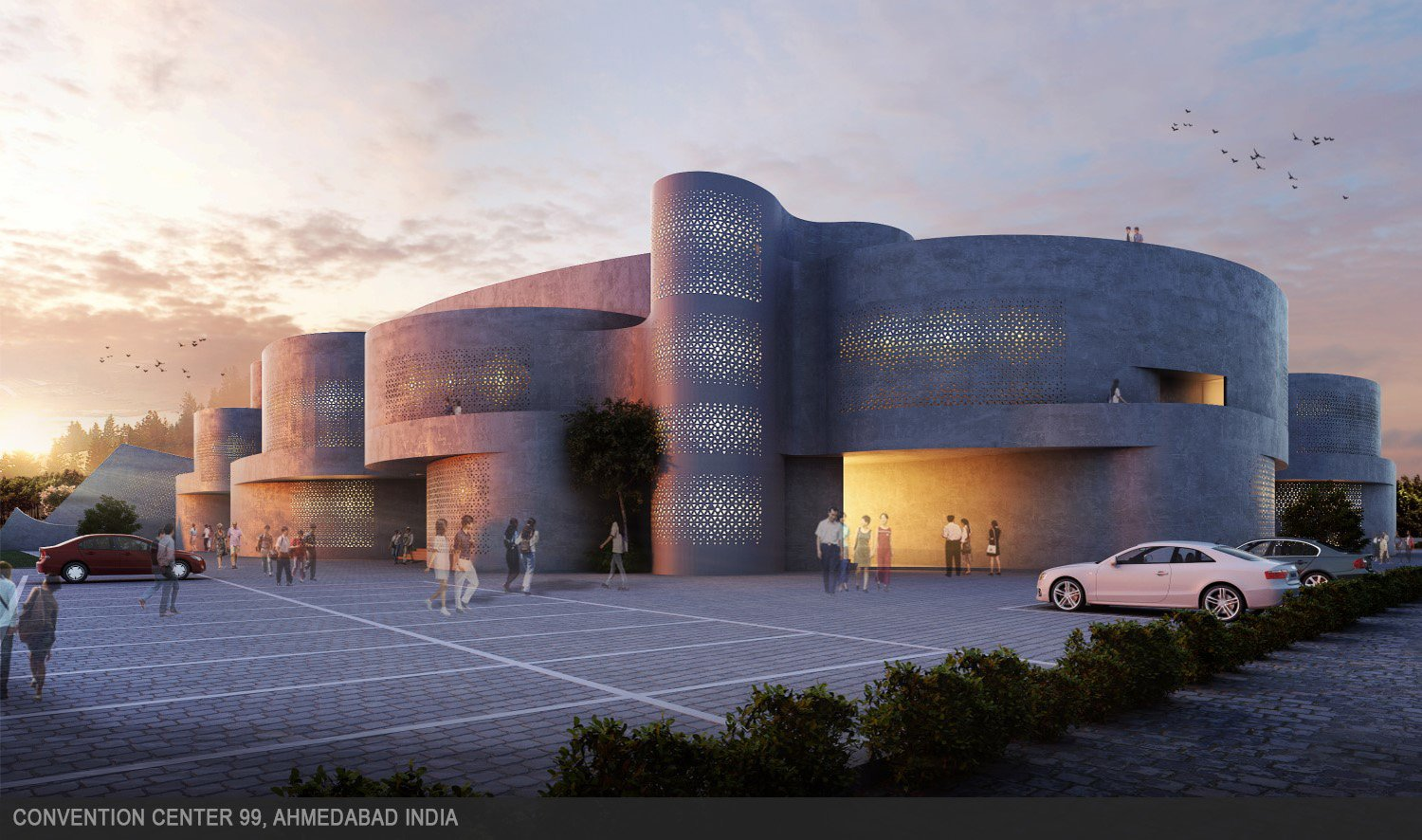 Curvilinear volumes intersect each other seamlessly to blur external openings. sanjay puri architects}