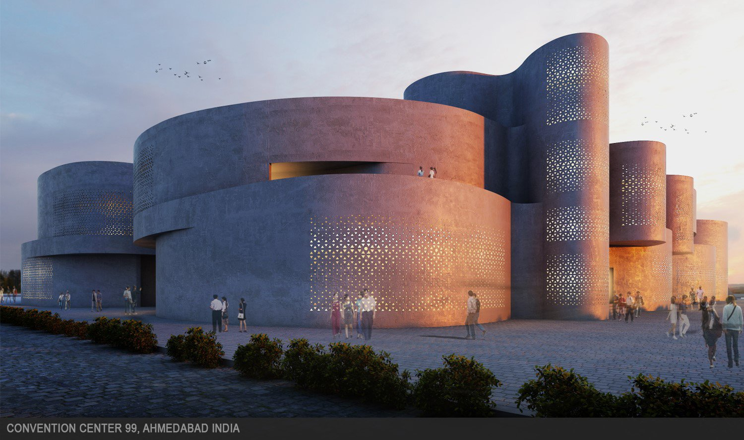 Generous use of perforated walls to allow natural light and ventilation. sanjay puri architects}