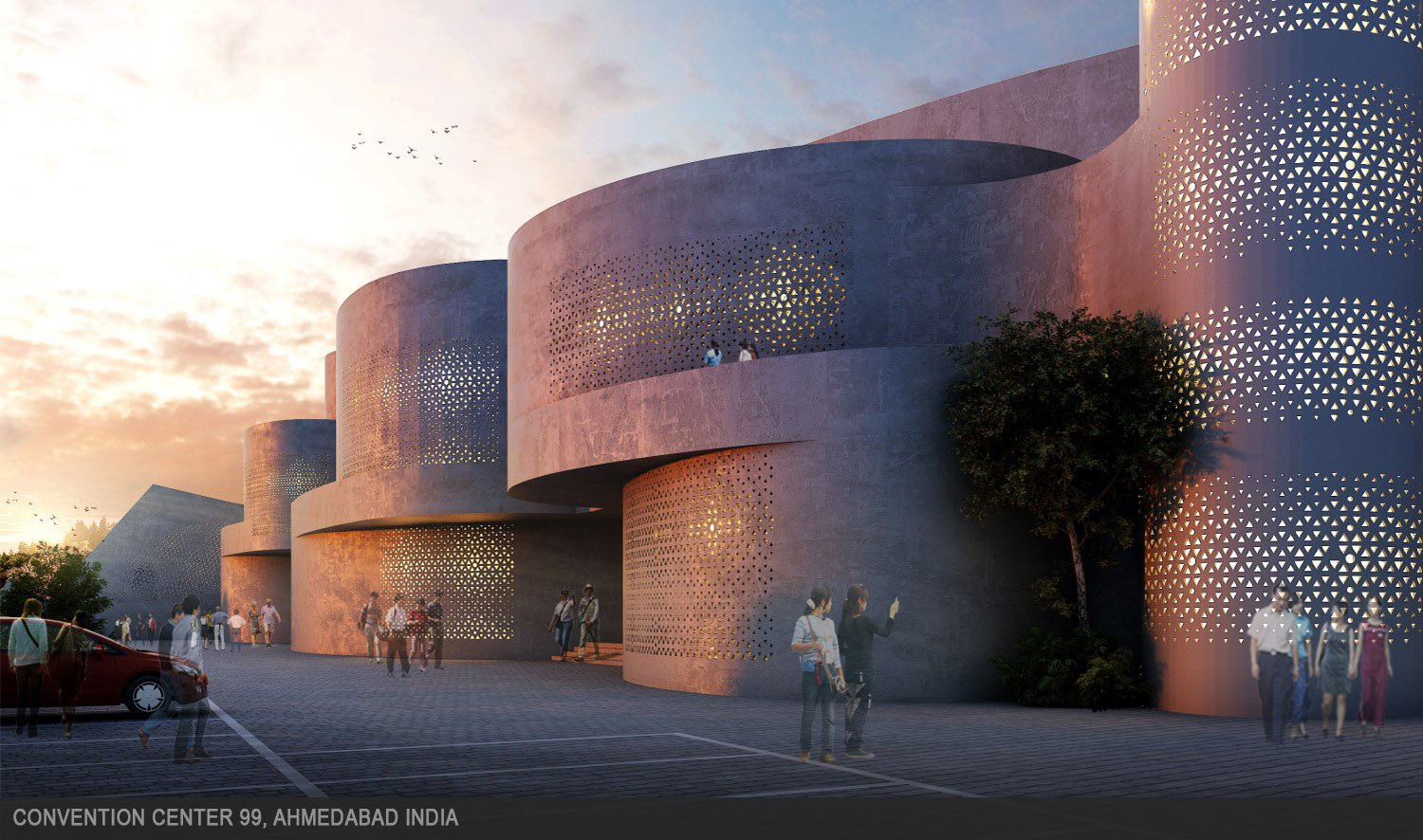 Perforated walls control the level of light entering a building as well as to add a distinctive personality to the building's exterior. sanjay puri architects}