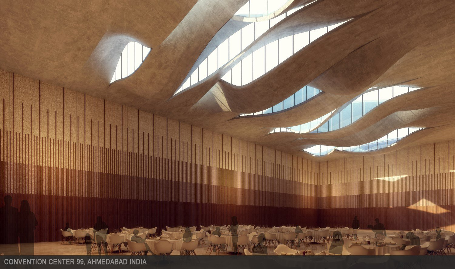 Curved undulating concrete roof allows natural light into the main hall. sanjay puri architects}