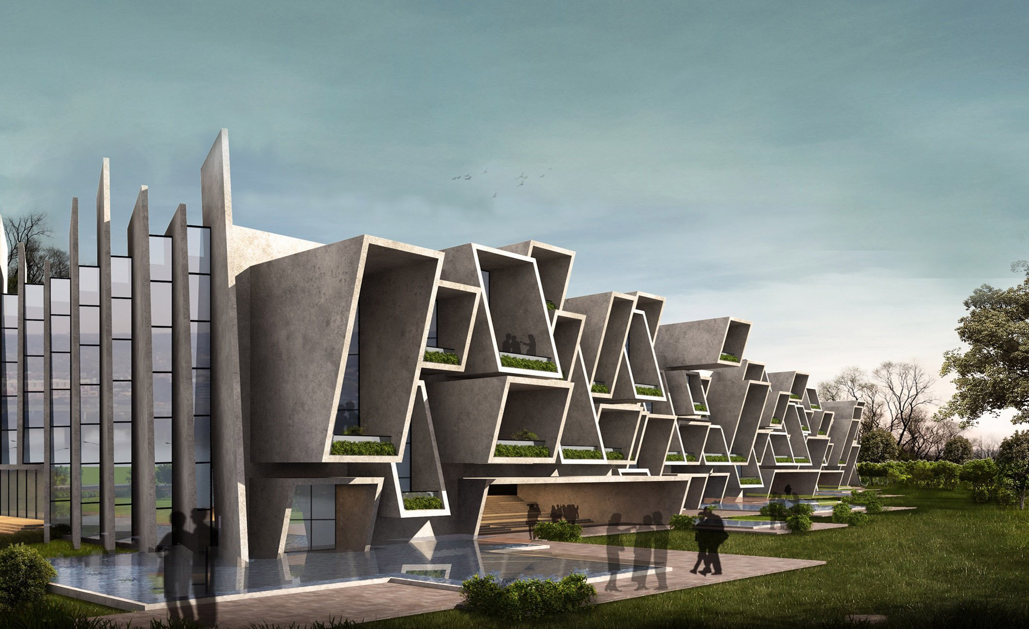 view from north east sanjay puri architects}
