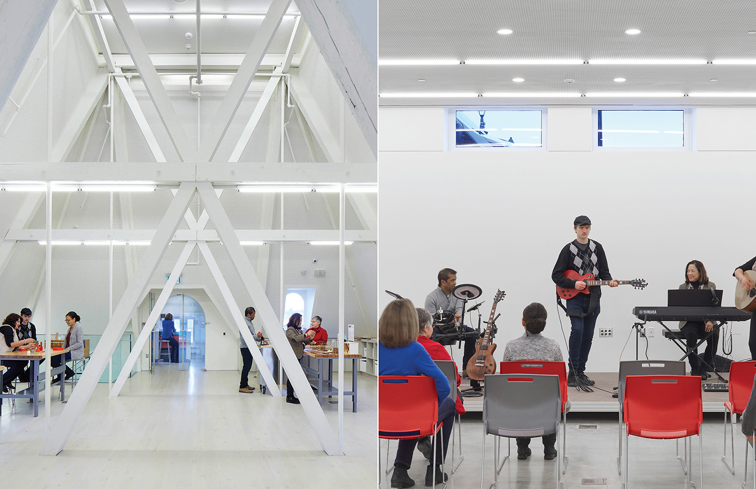 The attic retains the historic structure's original star-shaped steel trusses, and now serves as the Makerspace. The lower level accommodates creative studios and performance spaces. Tom Arban
