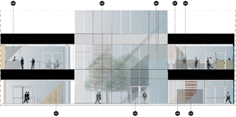Hub building - cross section FTA}