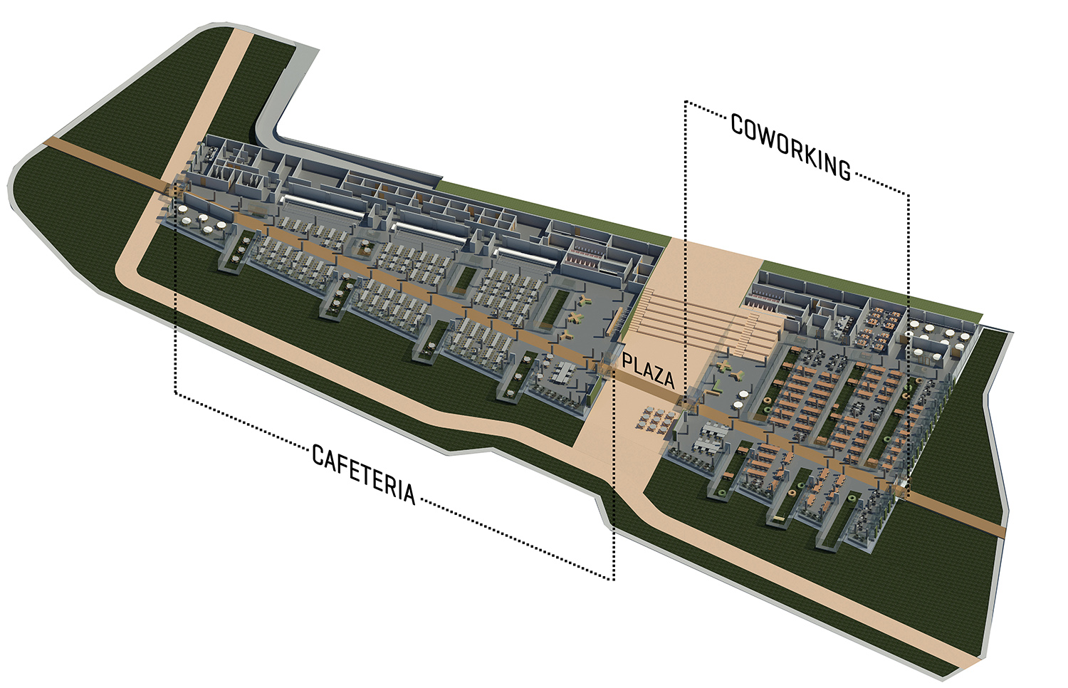 axonometric 3d image of the project yazgan design architecture}