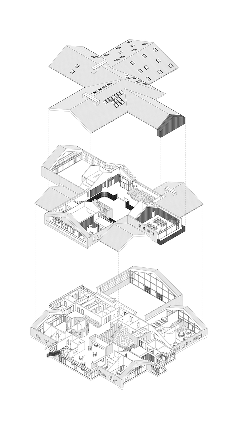 Exploded Axonometric drawing C.F. Møller Architects}